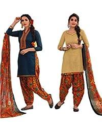 EasyToShop Retail Women's Cotton Printed Salwar Suits Unstiched Dress Materials (Combo Pack Of 2) _AMVRRR006_Cream...