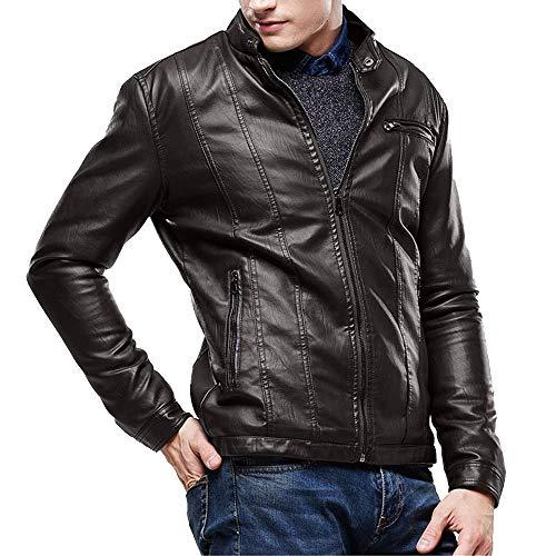 0424cd3d5c TIMEMEAN Winter clearance Men Autumn Casual Daily tops Men Autumn Winter  Leather Jacket Biker Motorcycle Zipper