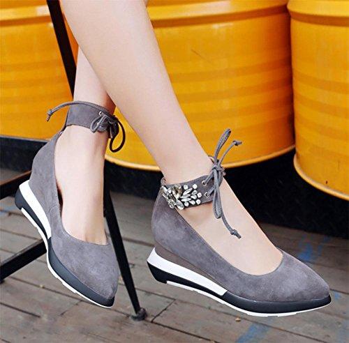 Ms. primavera scarpe ascensore scarpe femminili pendenza diamante pizzo con rotonde della bocca poco profonda pattini capi Scarpe da donna in pelle opaca Grey