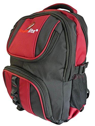 Roamlite - Mochila Infantil PRÉMIUM Tamaño A4 - Macuto Escolar de Niño o Niña - Impermeable Múltiples Bolsillos Respaldo y Tirantes Acolchados - Capacidad de 25 litros - Negro Rojo RL18KR