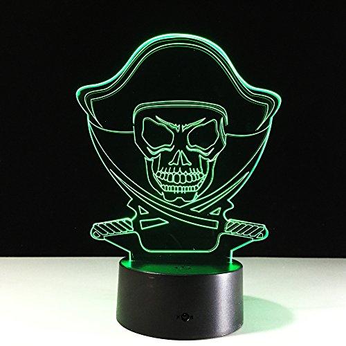 Die Skeleton 3D Lampe Führte Stereolicht 7 Farbige Änderungs-Lichter-Wohnzimmer-Baby Bedroomsmall Nachtlicht-Halloween-Dekorationen (Dekorationen Halloween Disney)