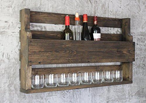 dekorie67 Holz Whiskey Regal mit Gläserhalter Vintage Shabby braun