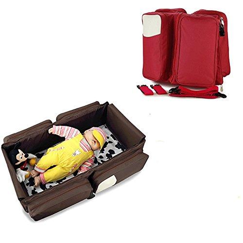 Creation® 3 in 1 Diaper Bag, Viaggi Bed, & portatile Cambio stazione con Bonus lenzuolo e passeggino Allegato, portatile del bambino Lettino da viaggio (Rosso)