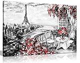 Abstrakt Floral Sommer Cafe Paris schwarz & weiß rot Leinwand Wandbild Kunstdruck Bild, schwarz/rot/weiß, A2 61x41 cm (24x16in)