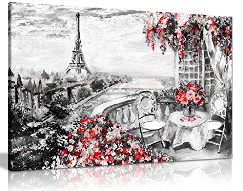 Abstrakt Floral Sommer Cafe Paris schwarz & weiß rot Leinwand Wandbild Kunstdruck Bild, schwarz/rot/weiß, A1 76x51 cm (30x20in) - Cafe Leinwand