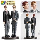 Dekora- Figurine Mariage Gay pour Le Gâteau 2 Hommes 19 cm, 305008, Noir