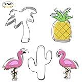 En Acier Inoxydable Cookie Cutter Formes Set Mini Cookie Moule Fromage Presses Timbres Décoration Alimentaire Cuisson Outils Cartoon Série Flamingo Fournitures de Cuisine (5 Pcs/Set)...