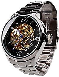 YPS Hombres Hollow Auto-mecánico del dial de la venda de acero Negro reloj de pulsera WTH8105