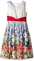 Girls Dress Sleeveless Blooming Flower Garden Print Blue