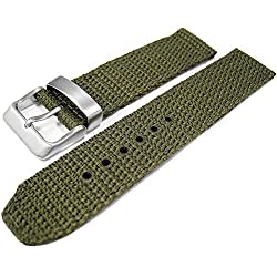 Green / Olive Woven Nylon 18mm Watch Strap Band Brushed Stainless Steel Buckle