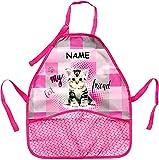 alles-meine GmbH Kinderschürze -  süßes Kätzchen / Katze  - inkl. Name - mitwachsend - größenverstellbar & mit 2 Taschen - universal Schürze / beschichtet & wasserdicht - fü..