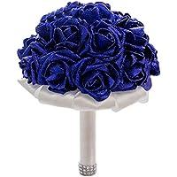 fablcrew espuma artificial ramo de novia con purpurina damas de honor de novia rosa flores para boda Decor, azul, 21 x 26cm