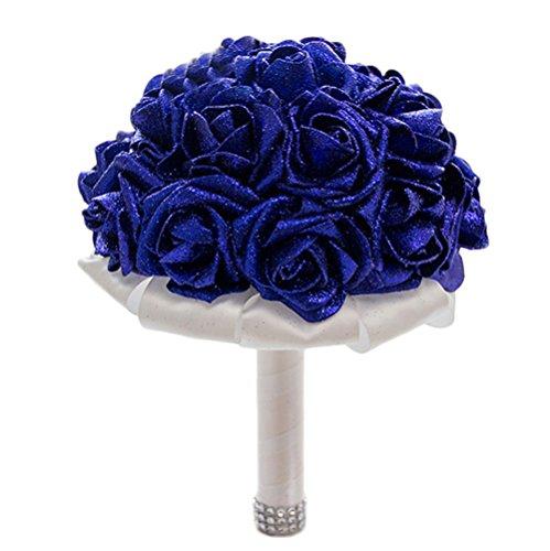 Cosanter Mode Blumenstrauß Romantische Hochzeit Bunte Künstliche Hochzeitsstrauß Rosen Seidenblumen Seidenrosen Kunstblumen Blumen Brautstrauß der Braut, Blau (Brautstrauß Blau)