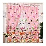 Lalang Rosa Schmetterling Ösenschal Deko Ösen Schlaufen Schal Gardine Vorhang Glanz Fenster Flächen Schals,195*100 cm