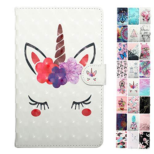 Coeyes Tablet-PC Hülle kompatibel für iPad Mini 5/4 / 3/2 / 1 Tasche Leder Flip Case Etui Schutzhülle Cover mit Kartenfach - Wimpern Einhorn Muster