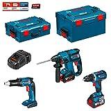 Kit Bosch ECL3P2BE (GSR 18 V-EC TE + GBH 18 V-EC + GSR 18 V-EC + Ladegerät AL1860CV + 2 Akkus 5,0 Ah + Koffer L-Boxx 136 + Koffer L-Boxx 238)