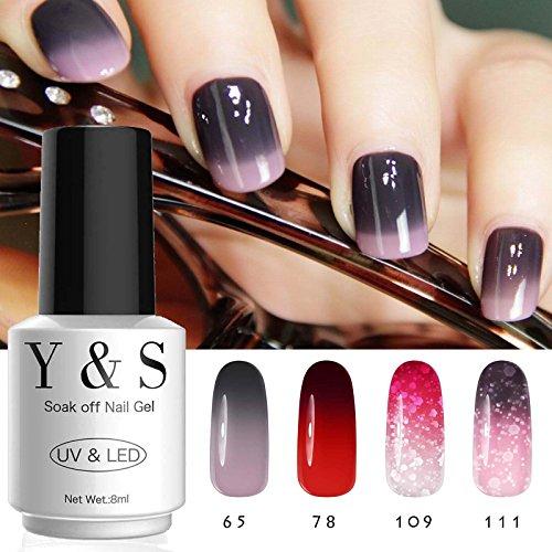 Vernis Semi Permanent UV Gel - Y&S Couleur Change Température UV LED Vernis à Ongles Gel Soak Off Kit 4 x 8ml Nail Art #1