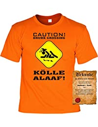 KARNEVAL Fun T-Shirt -- KölleAlaaf! Caution! Drunk Crossing People -- Geschenk zum Fasching mit Urkunde Spassvogel