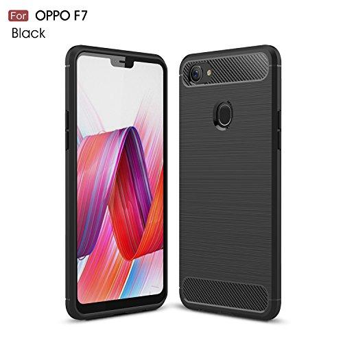 JMGoodstore Oppo F7 Hülle, Panzerglas Displayschutzfolie für Oppo F7, Schwarz Silikon Handyhülle für Oppo F7 Schutzhülle Karbon Optik Soft Case Skin