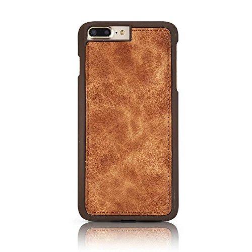 MOMDAD Housse iPhone 7 PLUS PU Cuir Étui Ultra Slim Fit PU Cuir étui Coque pour iPhone 7 PLUS Case Cover avec Support et Miroir de Maquillage pour iPhone 7 Plus 5.5 Pouces Étui Hull Rétro-Deep Brun