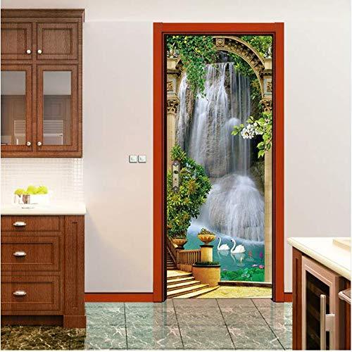 Newberli Schwanenteich Lotus Tür Aufkleber Korridor Bildschirm Moderne Eingang Aufkleber Simulation Dekorative Wandaufkleber