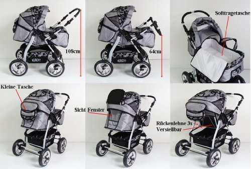 3 in 1 Kombikinderwagen Komplettset VIP – inkl. Kinderwagen, Babyschale und Sportwagen Aufsatz – 4. Grau Hartgummi Bereifung – 19. Schwarz-Weis