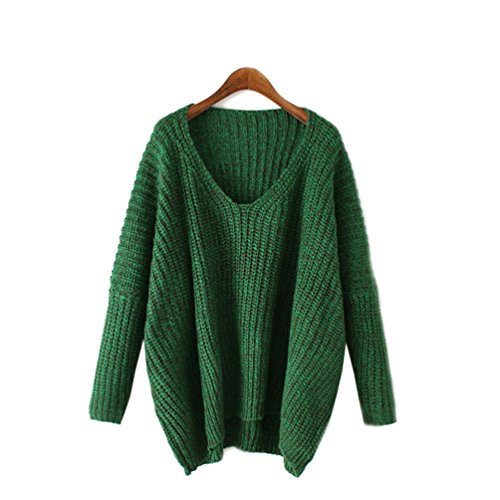 WanYang Flügel-Hülsen V-Ausschnitt Stricken Pullover Gestrickte Pullover Sweater Lose Grün