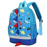 BAIGIO Kinderrucksack Kinder Mini Schultasche Dinosaurier Kindergartentasche für Jungen Mädchen Kleinkind (Hellblau)