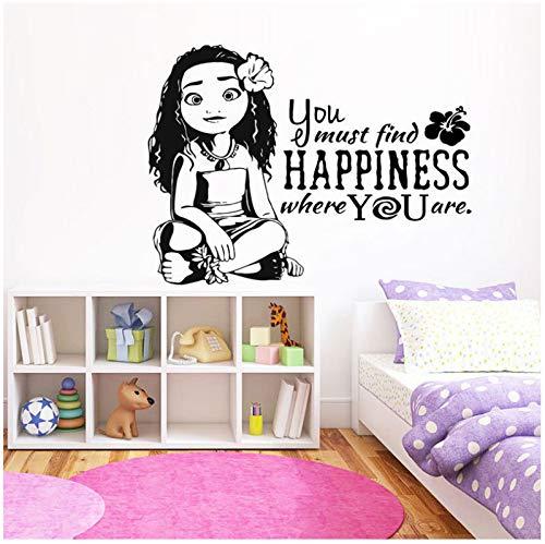 jqpwan Moana Wandtattoo Cartoon Zitate Vinyl Aufkleber Sie müssen Glück finden Wandbilder Verkauf Kinder Mädchen Geschenk 77 * 57 cm