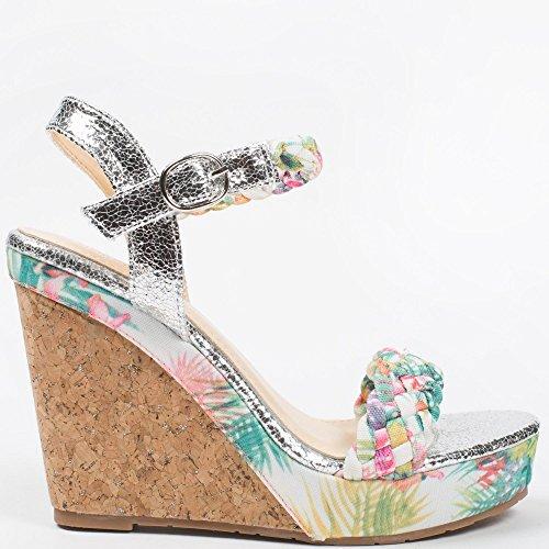 Ideal-Shoes Sandali compensate, motivo: fiori e effetto glitterato Everly Verde (verde)