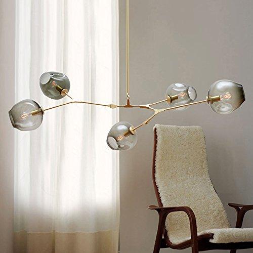 lemumu Lampen LED Personalisierte amerikanischen Wohnzimmer Kunst Licht Kugel Blasen-Restaurant Art Deco 3-gun trasparente nero coperchio lampada (Gun Seil)