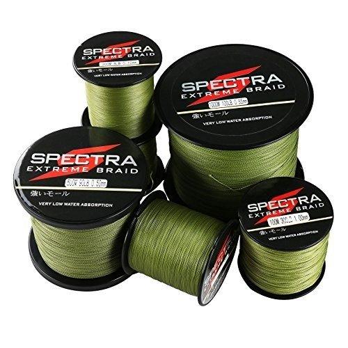 Spectra extreme braid, lenza da pesca intrecciata colore verde militare, 1000m/1093yards 100lb/0.55mm