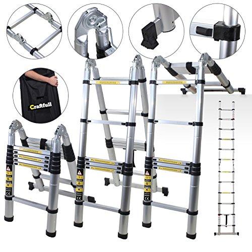 Craftfull Alu Teleskopleiter Klappleiter CF-102A - 3,2/3,8/4,4/5/ 5,6 M Meter -Tragetasche – Leiter – Anlegeleiter – Trittleiter (2 x 1.6 Meter (Total 3.2 m))