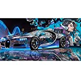 LONGYUCHEN 3D Wandbild Wand Papier Moderne Kreative Street Graffiti Sportwagen Anpassen Tapete Restaurant Clubs Ktv Bar Silk Wandbild,60Cm(H)×120Cm(W)