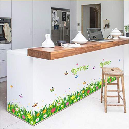 Hlonl Kindergarten Korridor Gang Sockellinie Fuß Linie Schiebetür Wand Klebrige Gras Schmetterling Wandaufkleber Fensterglas Aufkleber