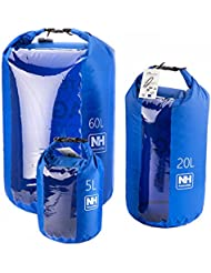 Naturehike exterior bolsa impermeable bolsa de viaje a la deriva paquete ventana transparente bolsa, color azul, tamaño (60L) UK, volumen liters 60