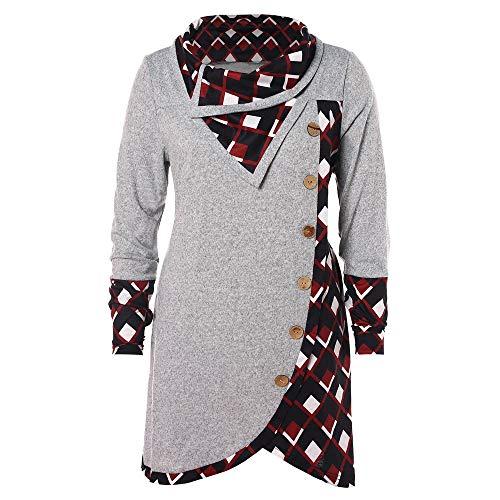 TIFIY Damen Karo Rollkragen Patchwork Shirt Elegant Langarm Pullover  Sweatshirt Unterseite Tunika Lange Bluse (Grau 259a7e13ec