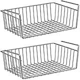 2 Pcs Silver Kitchen Under Shelf Storage Basket Large - 16 Lightweight Metal Organizer Rack