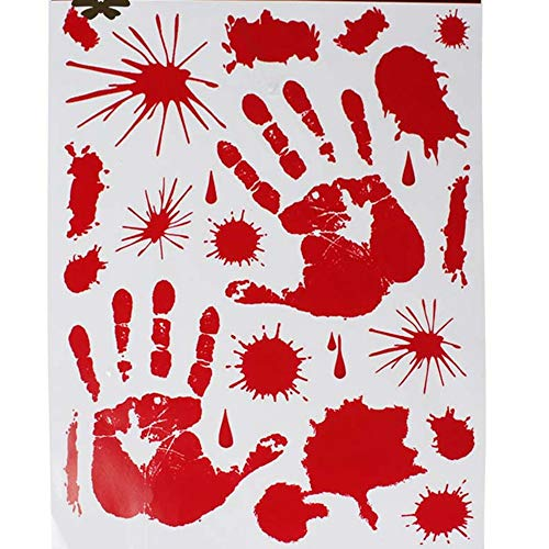 EDFVA rot blutigen Blut Vampir Handabdruck klammert Sich DIY Auto Fenster Spiegel Badezimmer Aufkleber Horror gruselige Aufkleber Halloween Party decoation