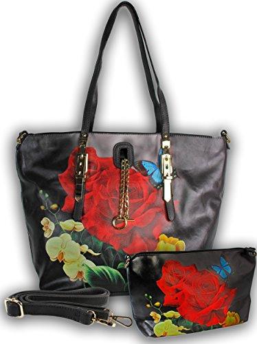 Artdiktat Designer Shopper Bag mit Schminktasche - Modell Flower schwarz schwarz