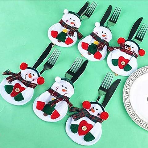Paleo Titular de muñeco de nieve navidad decoración vajilla cubertería cena