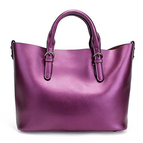 Preisvergleich Produktbild Meoaeo Neue Mode Leder Handtasche Leder Laptop Tasche Violett