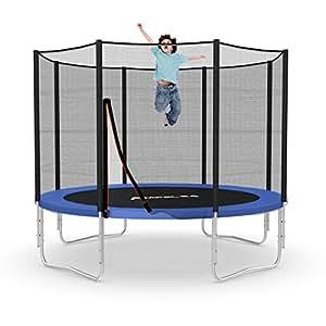 Outdoor Trampolin 305 cm blau   Gartentrampolin komplett mit verstärktem Netz und Hülsen   Sicherheitsnetz mit 8 gepolsterten Stangen   Belastbarkeit 150 kg
