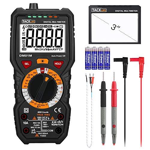 Digital Multimeter, Tacklife DM01M Advanced Multimeter mit 6000 Counts, True RMS, Temperaturmessung, Außenleiter-Identifizierung, Durchgangsprüfung, Hintergrundbeleuchtung
