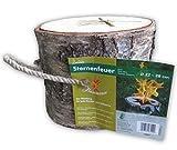 Flammenco 73901 Sternenfeuer Schwedenfeuer aus Birkenholz Höhe ca. 21 cm - Ø 22-28cm - Der Blickfang für jede Garten- und Grillparty - TOP QUALITÄT!