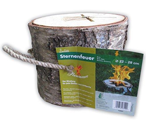 *Flammenco 73901 Sternenfeuer Schwedenfeuer aus Birkenholz Höhe ca. 21 cm – Ø 22-28cm – Der Blickfang für jede Garten- und Grillparty – TOP QUALITÄT!*