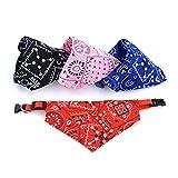 CDKJ Triangle Lätzchen Hund Bandanas Polyester Bedrucktes Dreieck Retractable Kragen Schal Halstuch Für Hund und Katze 4 Stück zufällige Farbe