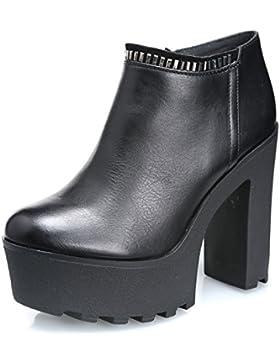 MForshop scarpe donna tronchetto stivaletti eco pelle tacco 13 carrarmato KL-091