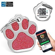 Chapa Placa Identificativa para Perros Huella Brillante con tecnología NFC Contactless y QR gestionable vía APP | (Roja)