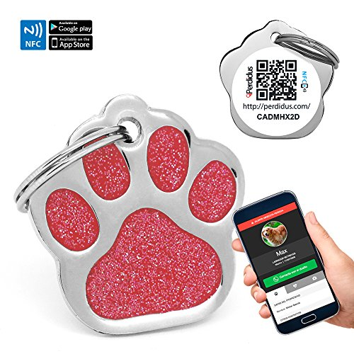 Chapa Placa Identificativa para Perros Huella Brillante con tecnología NFC Contactless y QR gestionable vía APP   (Roja)